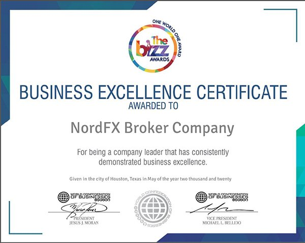World Confederation of Businesses Presents NordFX with Business Excellence Award1